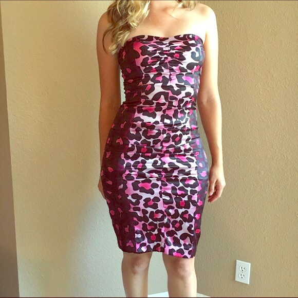 Cache Dresses & Skirts | Pink Leopard Strapless Cocktail Dress ...
